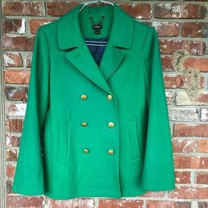 J Crew classic pea coat in green size 10